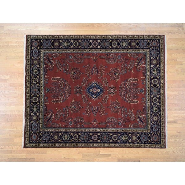 Hand Knotted Red Fine Oriental with New Zealand Wool Oriental Rug (8' x 10') - 8' x 10'