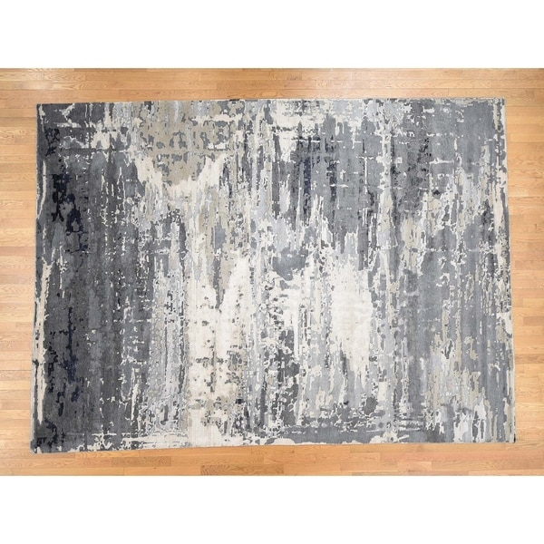 """Hand Knotted Grey Wool and Silk with Wool & Silk Oriental Rug (9'1"""" x 12'1"""") - 9'1"""" x 12'1"""""""