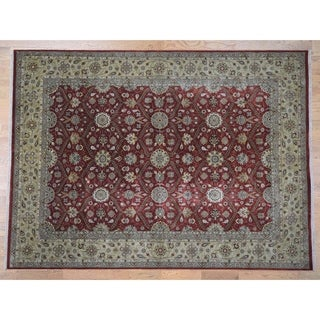 "Hand Knotted Red Fine Oriental with Wool & Silk Oriental Rug (9'2"" x 12'6"") - 9'2"" x 12'6"""