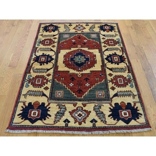 """Hand Knotted Red Tribal & Geometric with Wool Oriental Rug (3'5"""" x 5'2"""") - 3'5"""" x 5'2"""""""