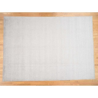 Hand Knotted Ivory Modern & Contemporary with Wool & Silk Oriental Rug (10' x 14') - 10' x 14'