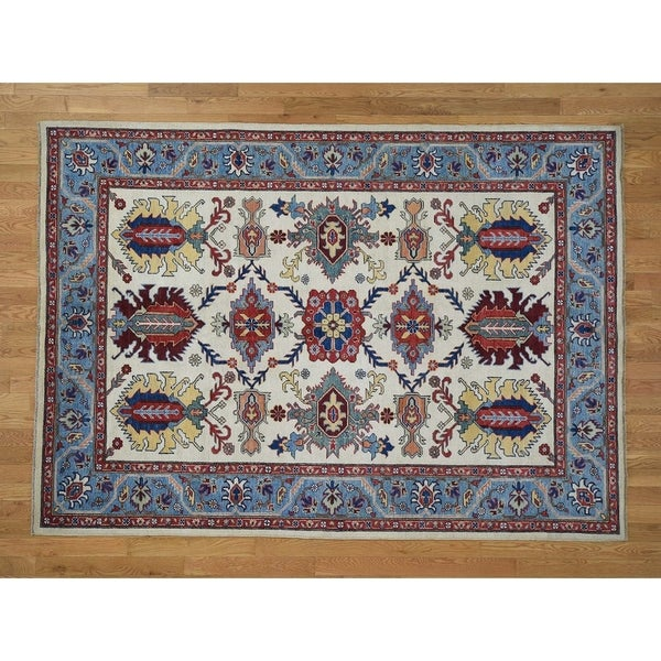 """Hand Knotted Ivory Kazak with Wool Oriental Rug (6'5"""" x 9') - 6'5"""" x 9'"""