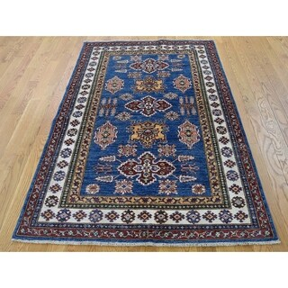 Hand Knotted Blue Kazak with Wool Oriental Rug (4' x 6') - 4' x 6'