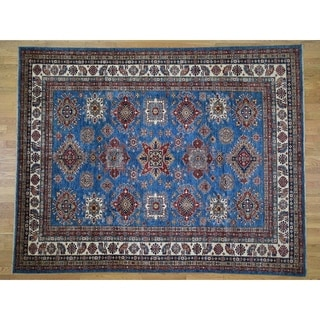"Hand Knotted Blue Kazak with Wool Oriental Rug (8'2"" x 10'1"") - 8'2"" x 10'1"""