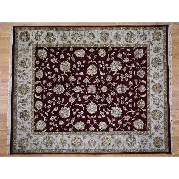 "Hand Knotted Red Rajasthan with Wool & Silk Oriental Rug (8'2"" x 10'1"") - 8'2"" x 10'1"""