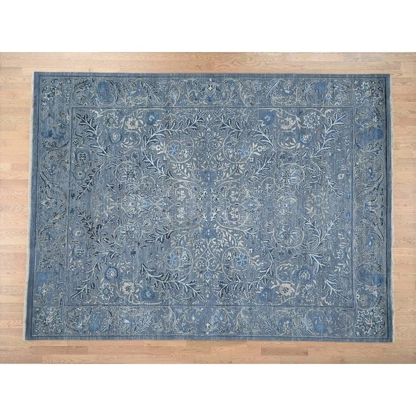 Hand Knotted Teal Modern & Contemporary with Wool & Silk Oriental Rug (9' x 12') - 9' x 12'