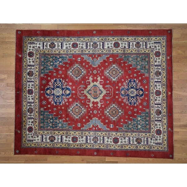 """Hand Knotted Red Kazak with Wool Oriental Rug (8'3"""" x 10'1"""") - 8'3"""" x 10'1"""""""