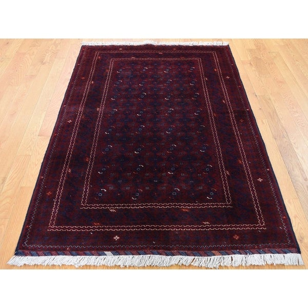 """Hand Knotted Red Tribal & Geometric with Wool Oriental Rug (3'10"""" x 5'9"""") - 3'10"""" x 5'9"""""""
