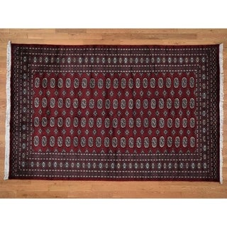 """Hand Knotted Red Tribal & Geometric with Wool Oriental Rug (6'2"""" x 9'5"""") - 6'2"""" x 9'5"""""""