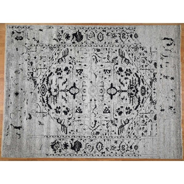 Hand Knotted Grey Modern & Contemporary with Wool & Silk Oriental Rug (10' x 14') - 10' x 14'
