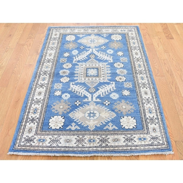 """Hand Knotted Blue Kazak with Wool Oriental Rug (3'5"""" x 5'1"""") - 3'5"""" x 5'1"""""""