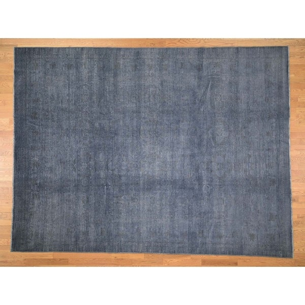 """Hand Knotted Grey Oushak And Peshawar with Wool Oriental Rug (9'2"""" x 12'1"""") - 9'2"""" x 12'1"""""""