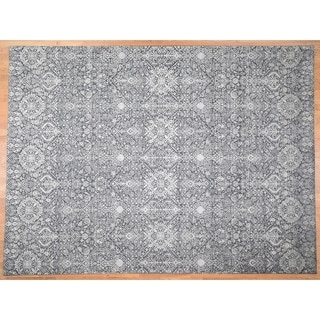 """Hand Knotted Grey Modern & Contemporary with Wool & Silk Oriental Rug (9' x 12'2"""") - 9' x 12'2"""""""