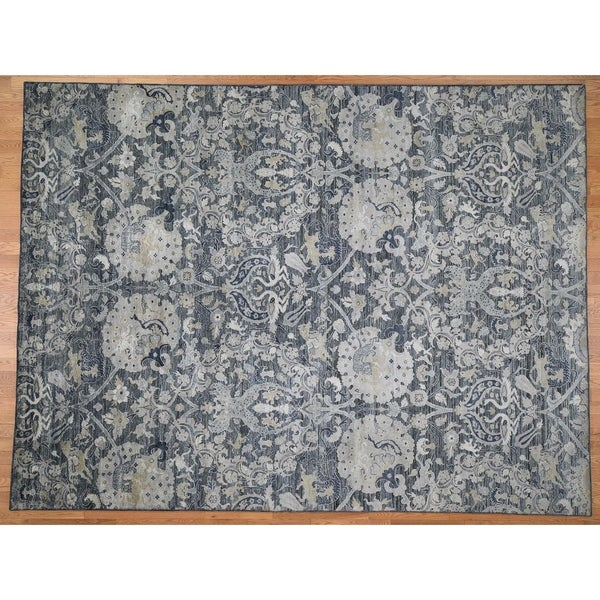 Hand Knotted Grey Modern & Contemporary with Wool & Silk Oriental Rug (9' x 12') - 9' x 12'