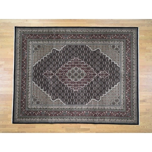 "Hand Knotted Black Fine Oriental with Wool & Silk Oriental Rug (8'1"" x 10'4"") - 8'1"" x 10'4"""
