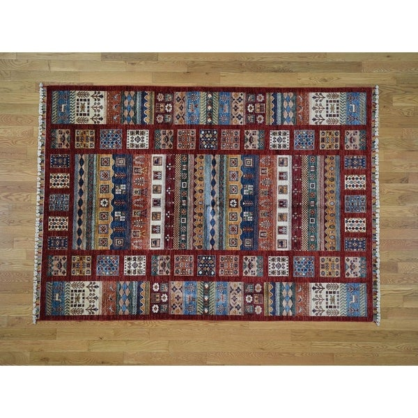 "Hand Knotted Multicolored Kazak with Wool Oriental Rug (5'9"" x 8') - 5'9"" x 8'"