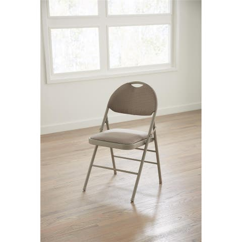 Cosco Taupe Comfort Back Fabric Commercial Folding Chair with Handle Hole (Set of 4)