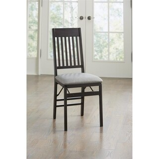 COSCO Espresso Mission Back Folding Chair with Fabric Seat, 2 Pack