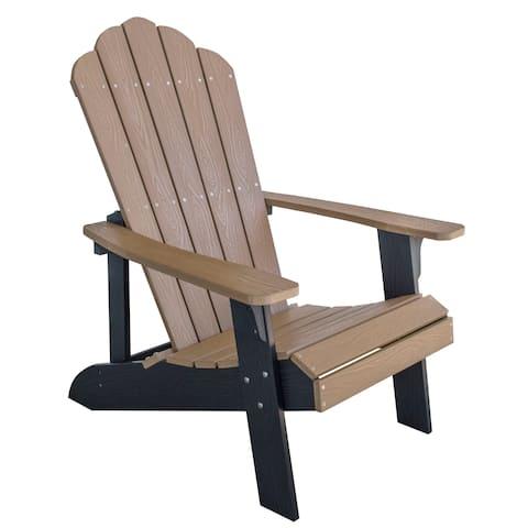 Adirondack Chair w/ Simulated Wood Construction - Tan w/ Black