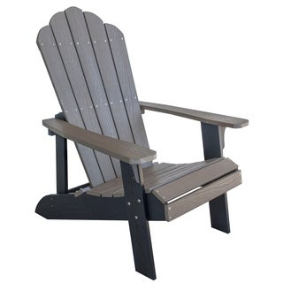 Adirondack Chair w/ Simulated Wood Construction - Driftwood w/ Black