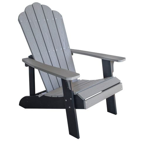 Adirondack Chair w/ Simulated Wood Construction - Gray w/ Black