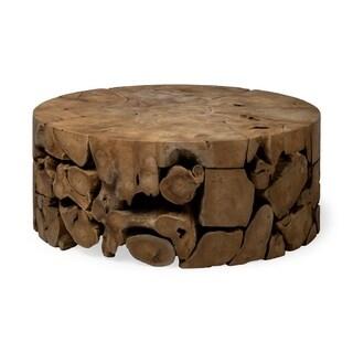 Mercana Rastik Round Wooden Coffee Table