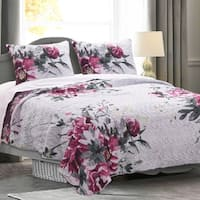 Greenland Home Rose Touch Floral Bouquet Quilt Set