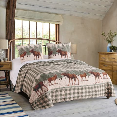 Greenland Home Moose Creek Rustic Plaid Quilt Set