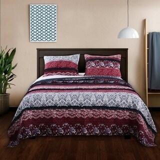 Barefoot Bungalow Monroe Americana Ruffled Quilt Set