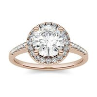Moissanite by Charles & Colvard 14k Gold 1.82 DEW Round Halo Engagement Ring