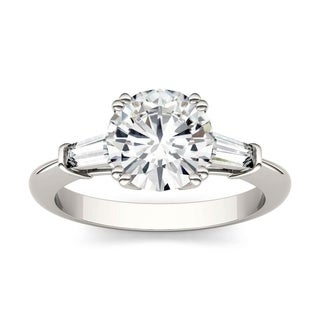 Moissanite by Charles & Colvard 14k White Gold 2.26 DEW Round Solitaire with Side Accents Engagement Ring