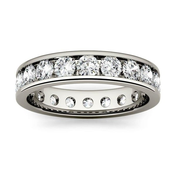 Moissanite by Charles & Colvard 14k Gold 2.1 DEW Channel Set Eternity Band. Opens flyout.