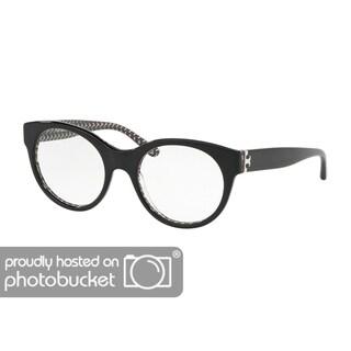 Tory Burch Round TY2085 Women's BLACK/BLACK WHITE ZIG ZAG PRIN Frame DEMO Eyeglasses