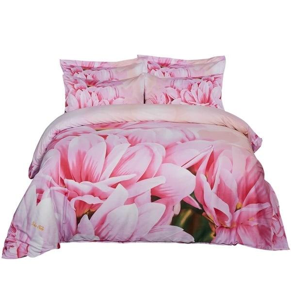 Floral Duvet Cover Set, 6 Piece Cotton Bedding Set w. Fitted Sheet