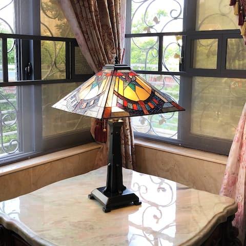Tiffany Style 2-light Antique Bronze Table Lamp