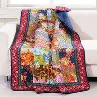 Barefoot Bungalow Desiree Patchwork Quilted Throw Blanket, 50x60-inch