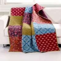 Barefoot Bungalow Normandy Patchwork Quilted Throw Blanket, 50x60-inch