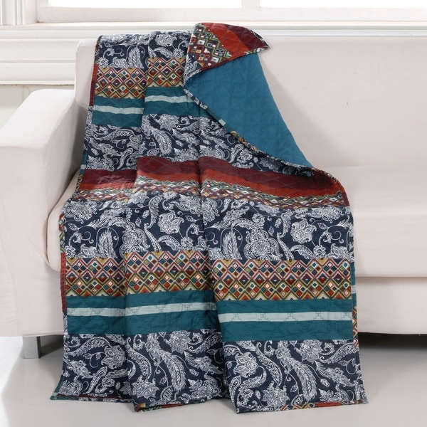 Barefoot Bungalow Vista Quilted Throw Blanket, 50x60-inch