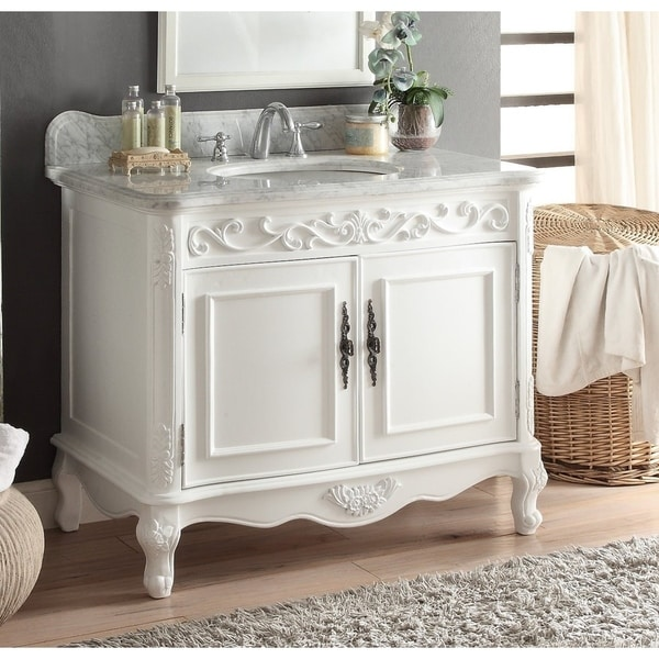 "39"" Benton Collection Carbone Classic White Bathroom Sink Vanity"