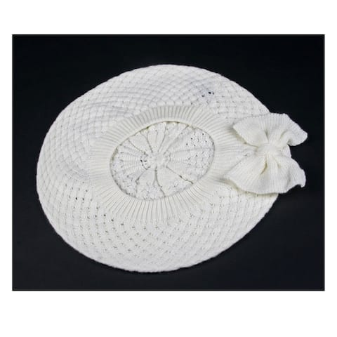 Women's Fashion Knitted Beret Net Style with Bow 182HB