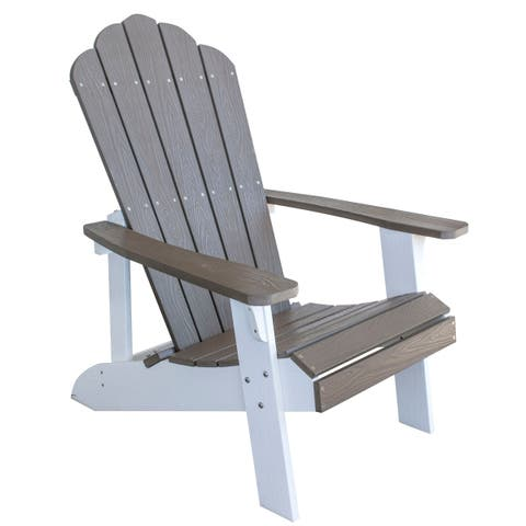 Outdoor Two Tone Adirondack Chair w/ Simulated Wood Construction - Driftwood w/ White Accents