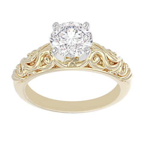 14K Yellow Gold Vintage Diamond Solitaire Engagement Ring - Round 1/2 CTTW - IGI Certified