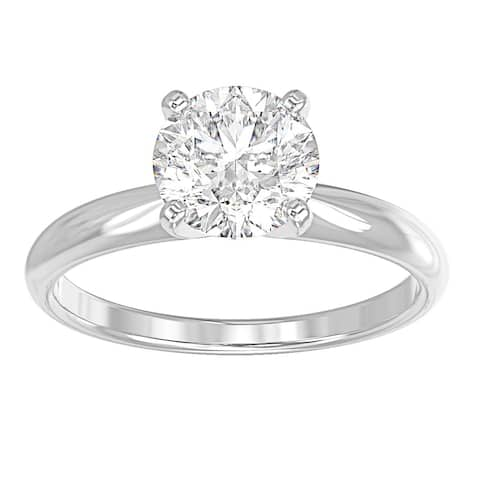14K White Gold Diamond Solitaire Engagement Ring - Round 1 CTTW - Comfort Fit - IGI Certified