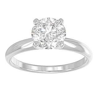 14K White Gold Diamond Solitaire Engagement Ring Round 1 CTTW Comfort Fit IGI Certified