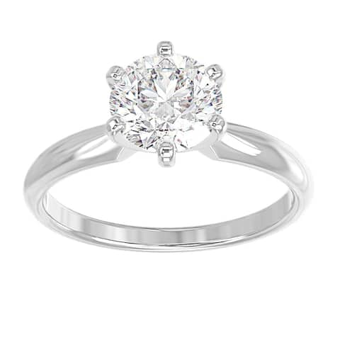 14K White Gold Diamond Solitaire Engagement Ring - Round 1/2 CTTW - Comfort Fit - IGI Certified