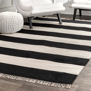 nuLOOM Contemporary Casual Coastal Stripped Fringe Area Rug