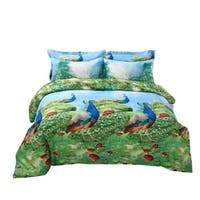 Peacock Bedding Set - 6 Piece Duvet Cover Set w. Fitted Sheet