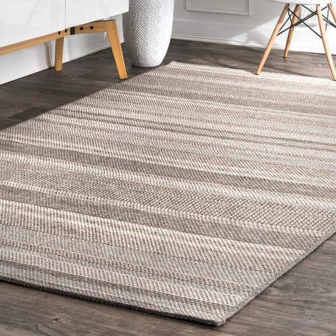 Porch & Den Weston Flatweave Natural Faded Stripe Area Rug