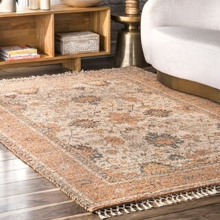 nuLOOM Multi Flatweave Traditional Rustic Blooming Garden Tassel Border Area Rug