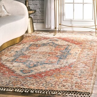 nuLOOM Multi Flatweave Handmade Traditional Shina Ornamental Ombre Tassel Area Rug